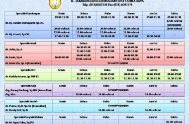 Jadwal Praktik Dokter Spesialis Terbaru, (Update 24 April 2018)